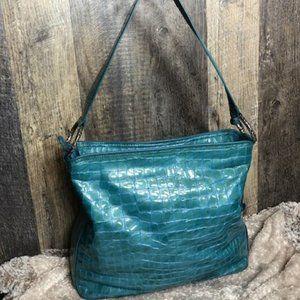 💗Brighton Glossy Leather Shoulder Bag, Sea Green